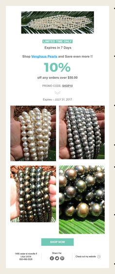 LIMITED TIME ONLY  Expires in 7 Days   Shop Venghaus Pearls and Save even more !!   10%