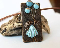 Polymer Clay Pendant Blue Copper Romantic Colorful Spring Square Minimalism Style Art Girl Jewelry Polymer Clay Necklace Birthday Gift
