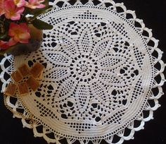 crochet doily, 15,7 inches, round doily, cotton doily, lace doily, crochet tablecloth