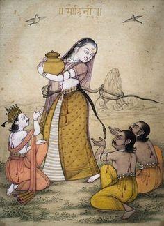 Mohini with the pot of nectar, the asuras and the devas (Mahabharata)