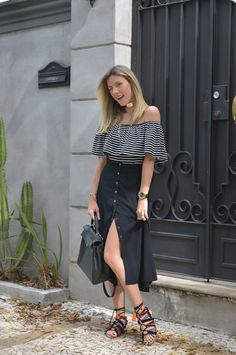 //pinterest @esib123 // #style #inspo #clothes black skirt and striped off the shoulder top