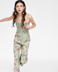 b9162fd0bca Image 5 of PRINTED JUMPSUIT WITH ELASTIC NECKLINE from Zara Printed Jumpsuit