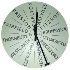 This wall clock features a matt finish face, battery operated quartz sweep movement (battery not inc) and is ready to hang. It comes boxed and is made in Melbourne using local and imported materials. You can choose your own 12 destinations or any words you like and the price includes artwork and proof before we make the item. ***Please note: we...