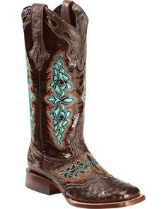 a8ae3ac116c6 Lucchese Women s Handmade Chocolate Amberlyn Full Quill Ostrich Boots -  Square Toe. Cowboystiefel FrauenCowgirl StiefelSchuh ...