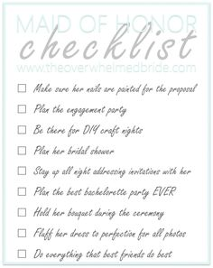 Maid Of Honor Wedding Checklist | Free printable, The o'jays and Bags