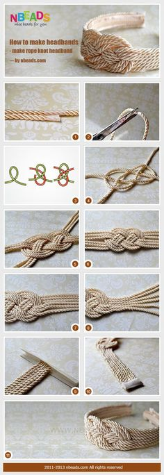 Materials and Tools: Braiding cord Small strip of fabric Sewing threads Needle Sticky tape Headband Hot glue gun Glue stick Scissors More info and instructions about this great tutorial you can find i(Diy Bracelets Fabric) Diy Jewelry, Jewelery, Handmade Jewelry, Jewelry Making, Jewelry Ideas, Rope Knots, Macrame Knots, Armband Diy, How To Make Headbands