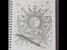 Celestial Moon Coloring Pages For Adults - colouring mermaid Sun And Moon Drawings, Sun Drawing, Doodle Drawings, Moon Coloring Pages, Adult Coloring Pages, Doodle Art Designs, Doodle Patterns, Ink Doodles, Doodle Art Journals