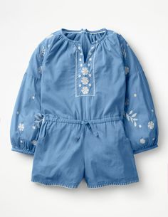 Discover our standout range of girls' dresses at Boden. Choose from comfy jersey styles for every day to extra-special party dresses for ages 0 to 16 years. Girls Playsuit, Stylish Little Girls, Going Home Outfit, White Embroidery, Girls Pants, Summer Kids, Girls Wear, Playsuits, Summer Wardrobe
