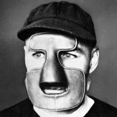 In 1929, Montreal Maroons' goaltender Clint Benedict wore a leather mask to protect his broken nose.