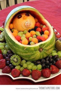 Baby shower fruit idea! So cute