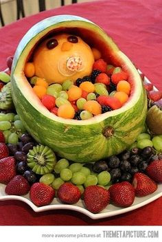 Baby shower fruit idea! So cute