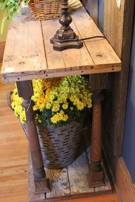 lumber & spindles = entry, sofa or hall table @ DIY Home Design- I kind of like how rustic is. Furniture Projects, Home Projects, Diy Furniture, Coaster Furniture, Furniture Design, Plywood Furniture, Upcycled Furniture, Pallet Projects, Chair Design