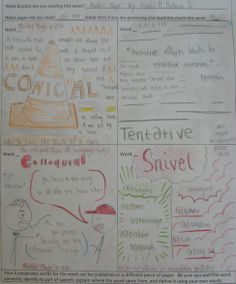 I invited my 8th graders to invent a new vocabulary & writing activity; I offer 8 options to my students to choose from, and my 8th graders this year are creative enough to hatch up some new ones for me to use with next year's 'victims of vocabulary.'  Emily is working on a conversation-based activity (bottom left panel).  Her pal Jaysen is working on this page: http://www.pinterest.com/pin/450852612668733747/