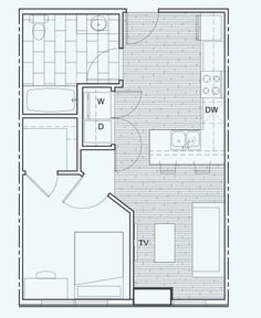 1 Bedroom/1 Bathroom - Floor Plan C