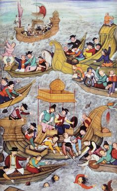 Death of Sultan Bahadur at Diu in front of the Portuguese, 1537: This illustration, from an early Indian history of Portuguese activities (ca. 1603-1604), shows the drowning of Bahadur Shah, a Hindu sultan, during an on-ship meeting with the Portuguese governor. The Portuguese said that the sultan jumped overboard; Indians insisted that he was pushed.