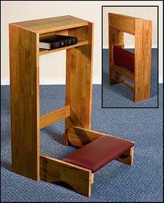 Church Travel Wood Folding Prayer Kneeler Pecan Finish