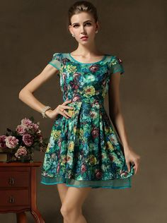 Shop Green Short Sleeve Floral Contrast Gauze Dress online. Sheinside offers Green Short Sleeve Floral Contrast Gauze Dress & more to fit your fashionable needs. Free Shipping Worldwide!