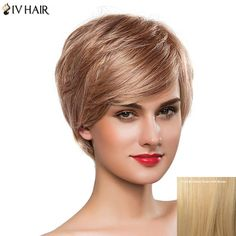 Gorgeous Women's Oblique Bang Short Fluffy Siv Human Hair Wig #>=#>=#>=#>=#> Click on the pin to check out discount price, color, size, shipping, etc. Save and like it!