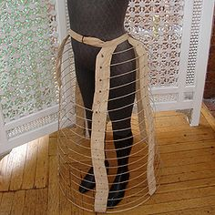 Rare 19th century Edwardian Child's Bustle Cage, made with linen covered wire hoops.