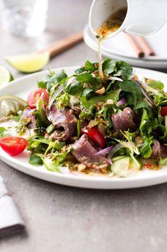 Thai Beef Salad: Dressing: ½ tsp sliced chili; 2 garlic cloves; 1 tbsp cilantro; salt; 2 tsp sugar; 2 tbsp fish sauce; 3 tbsp lime juice; 1 tbsp grape seed oil. Salad: 8 oz beef; ½ tbsp canola oil; Salt and pepper.