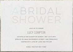 A Bridal Shower by bluepoolroad for Paperless Post.  Create beautiful online bridal shower invitations with our easy-to-use design tools and RSVP tracking. View more wedding-related invitations on paperlesspost.com.