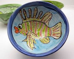 Pottery Majolica BowlServing  Earthenware by ClayLickCreekPottery,