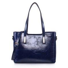 Yafeige Women Leather Shoulder Bags Top-Handle Handbag Tote Purse Bag (Blue-1)…