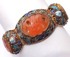 Vintage Chinese Gold Washed Silver Filigree Enamel Carved Carnelian Bracelet | eBay