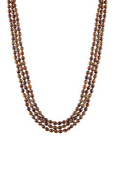Splendid Pearls Dyed Brown Freshwater Pearl Necklace