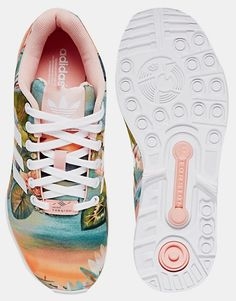 watch 3540b 08942 adidas Originals ZX Flux Dust Pink Print Trainers