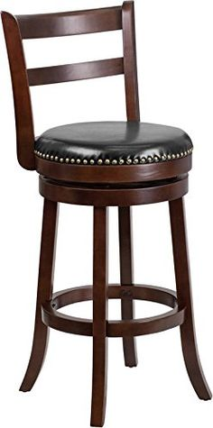wooden bar stool furniture 29 high backless black leather swivel