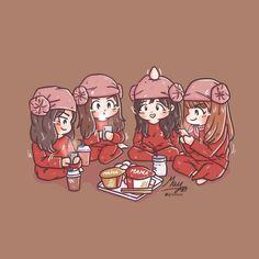 BlackPink in your area! Best Friends Cartoon, Friend Cartoon, Girl Cartoon, Cartoon Art, Chibi Manga, Naruto Chibi, Best Friend Drawings, Bff Drawings, Chibi Tutorial