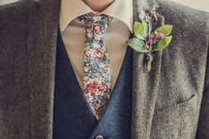 Wool Tweed Suit Waistcoat Floral Tie Groom Herb Buttonhole Magical DIY Wedding in the Woods with Hand Written Ceremony Vows http://www.thomasthomasphotography.co.uk/