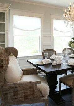 Place your accent chairs at the head and foot of your dining table.  They will add some drama and excitement to your evening meal.