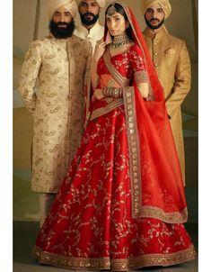 Coral Red Banarasi Silk Bridal Lehenga Choli