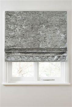 Grey Crushed Velvet Roman Blind