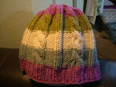 Ravelry: Easy Chunky Cable Hat pattern by Ruth Hilton-Robinson Poncho Patterns, Chunky Yarn, Scarfs, Ravelry, Knitted Hats, Cable, Beanie, Knitting, Easy