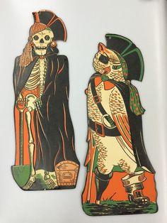 2 Vintage Halloween Pirate Owl & Skeleton Embossed Die Cut Cardboard Decorations
