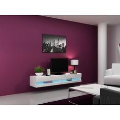 Idea - modern wall unit for tv / entertainment units / tv unit / tv cabinets Wall Mount Tv Stand, Led Tv Stand, Floating Tv Stand, Floating Wall, Tv Cabinet Design, Tv Stand Cabinet, Shelf Design, White Tv Stands, Cool Tv Stands