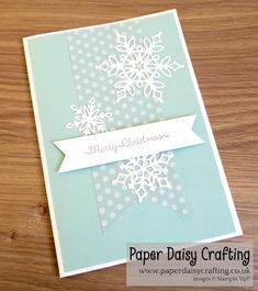 Paper Daisy Crafting: Christmas in July - with Snowfall Thinlits dies Christmas Paper Crafts, Homemade Christmas Cards, Stampin Up Christmas, Homemade Cards, Card Making Inspiration, Making Ideas, Snowflake Cards, Snowflake Designs, Snowflakes