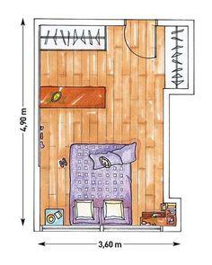 Plano dormitorio con vestidor de madera Made To Measure Furniture, Living Etc, Studio Living, Bedroom Wardrobe, Roomspiration, Bedroom Layouts, Architecture Portfolio, Interior Design Tips, New Room