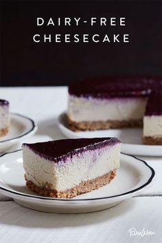 Dairy-Free Cheesecake with Blueberry Topping - - You can use the words indulgent and dairy-free in the same sentence. Like to describe this cheesecake with blueberry topping. Dessert, anyone? RELATED: Get the Recipe: Nondairy Coconut Whipped Cream. Brownie Desserts, Oreo Dessert, Mini Desserts, Just Desserts, Dessert Food, Dairy Free Cheesecake, Best Cheesecake, Cheesecake Recipes, Dessert Recipes
