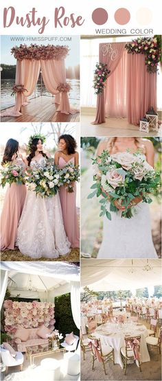 Pink wedding inspiration and ideas for the alternative creative bride dusty rose wedding color ideas - dusty pink wedding color ideas Dusty Pink Weddings, Dusty Rose Wedding, Vintage Weddings, Beach Weddings, Romantic Weddings, Rose Gold Weddings, Floral Wedding, Wedding Gold, Country Weddings