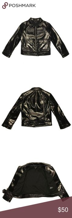 Express Black Shiny Cropped Moto Jacket Express Womens Black (Minus The) Leather Shiny Cropped Moto Jacket  Brand new without Tags Size: Women's XS (Extra Small) Color: Shimmering Black MSRP: $148  Product Description: Light-catching shimmers take center stage on this fierce and versatile (minus the) leather moto jacket. Really bring out its edgy side with distressed denim and booties, or sweeten the style with a fun and flirty lace dress and heels.  Product Details  Point collar…