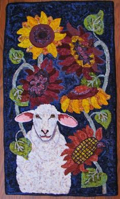 Sheep and Sunflower design by Woodcrest Rug Designs, hooked by Sylvia Gauthier, teacher Joanie Reckwerdt.