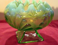 NORTHWOOD / JEFFERSON Green Opalescent BEADED FANS Footed Rose Bowl #211