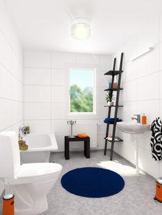 Badrummet i ett Älvsbyhus i standardutförande.