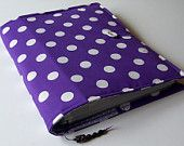 Handmade Ring Binder file cover in Purple and White Polka Dots fabric