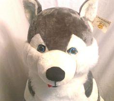 """Giant Husky Plush Pick A Pet 36"""" Tall Huge Lovable Dog Blue Eyes #PickAPet #HUSKYDog"""