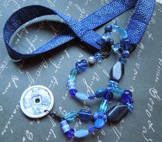Bohemian Blue Fabric Necklace with Ceramic Pendant